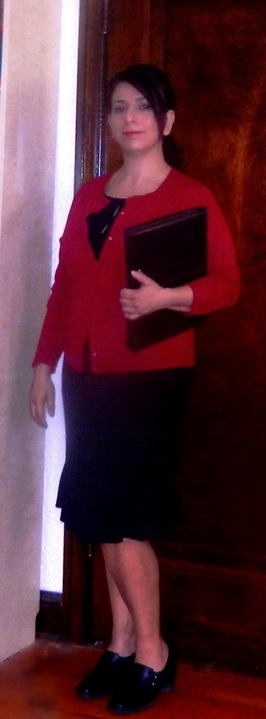 A comfortable but respectable outfit for a teacher career fair.
