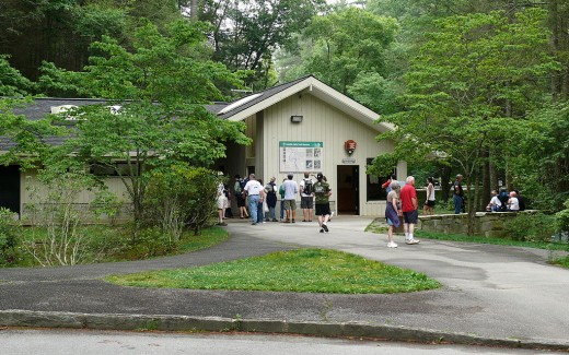 A visitor's center on the Blue Ridge Parkway, similar to the one we visited at Otter Creek and what we tried to visit at Whetstone Ridge.