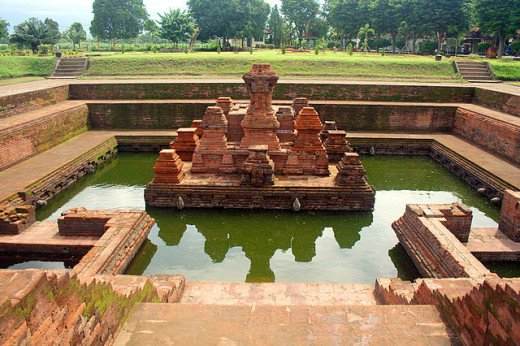 Candi Tikus, a 14th century bathing place in Majapahit empire capital city, Trowulan Archaeological Park, East Java, Indonesia.