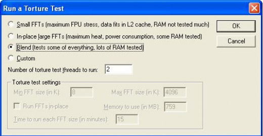 Depending on user's selection, the torture test will stress the RAM too. A blend of tests is usually a good start.
