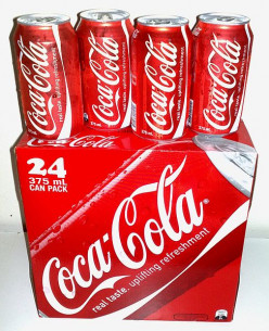 How many teaspoons of sugar equivalent are contained in a can of Coca-Cola coke?