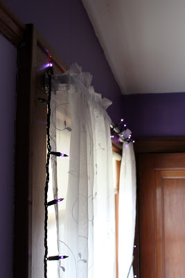 I hung these purple Christmas lights in my dorm rooms throughout college.