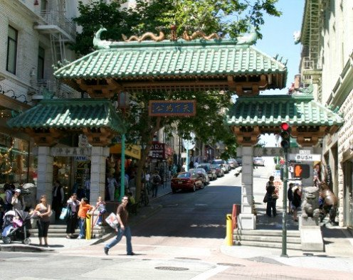 San Francisco Chinatown ornate dragon gate at the corner of Grant & Bush streets.The gate was a gift from the Republic of China in 1969