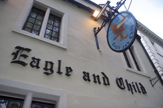 The Eagle and Child pub (also called the Bird)  in Oxford often hosted the Inklings,
