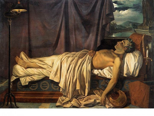 Lord Byron on His Deathbed Painting by Joseph Denis Odevaere