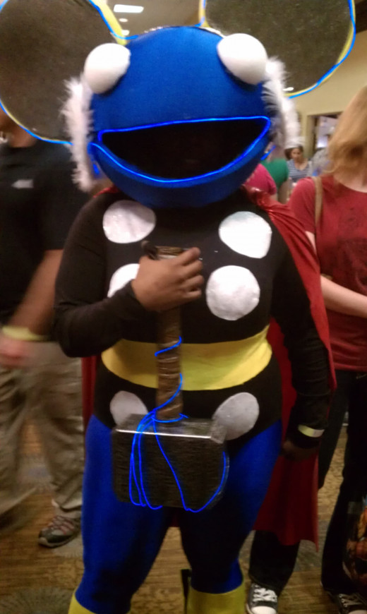 Probably the most unusual and creative costume ever. I shall call her.. Thormau5! (It really was a girl in there.)