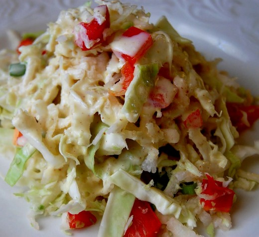 Delightful tangy coleslaw with lots of texture
