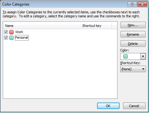 Example of categories created to organise my Personal and Work related tasks in Outlook 2007 or Outlook 2010.