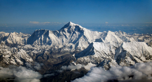 Everest as seen from the south by an aircraft