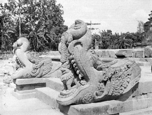 Stone makara sculptures at the Candi Kalasan, Sleman, Yogyakarta, Central Java, Indonesia.