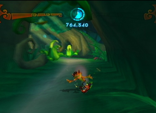 Crash gets some cool abilities, too. He can surf on Aku Aku's face!