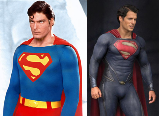 Christopher Reeve (left), Henry Cavill (right)
