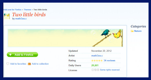 Screenshot 14. A theme I love -- sweet little blue and yellow birds seem to be friends. Source Mozilla Firefox