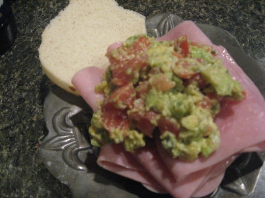 Guacamole on a sandwich