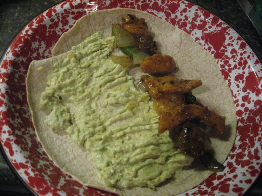 Avocado Spread on fajitas