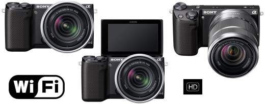 The Sony NEX-5RK: 16.1MP, HD video (1080p), a 3-inch tilting touchscreen, and integrated Wi-Fi functionality.