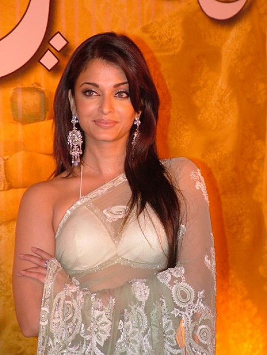 Aishwarya Rai in Transparent White Saree