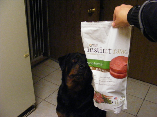 Kaiser gives a thumb's up for Nature Variety's Instinct Raw diet