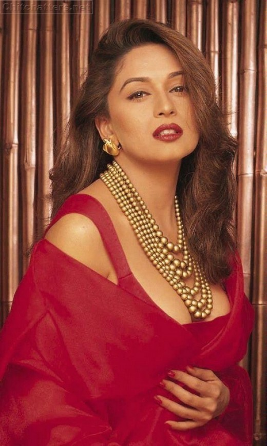Sexy Madhuri Dixit in Red Saree