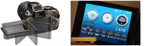 The Nikon D5200 has a vari-angle LCD display. The graphic information display is customisable.