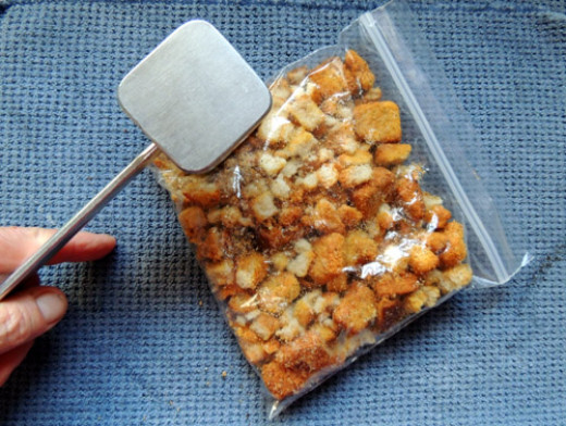 place croutons in baggy, and crush with meat mallet
