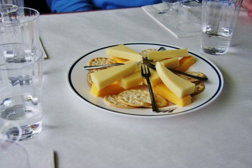 A close up of the crackers and cheese.  All top notch!