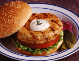 A grilled salmon burger made from can salmon the taste is good and the flavor profile is awesome but any way you make its up to you and your taste buds so try and enjoy.