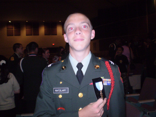 1st or 2nd year of JROTC.  He'd become an officer and wore many more ribbons by the time he graduated high school