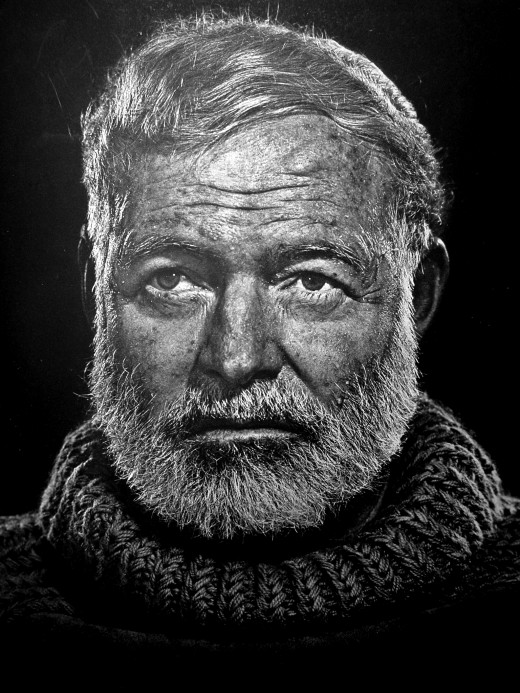 Black and White Portrait of Ernest Hemingway from 1957
