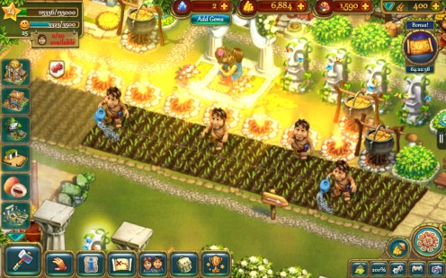 Almost all of the actions in The Tribez require food, so you will spend a lot of time tending fields, farming pigs or picking berries!