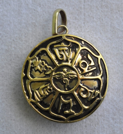 Om and Tibetan Alphabet of Sacred Mantra white metal German silver pendant 1.5 inch diameter