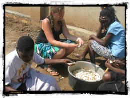 Volunteering to help with food preparation