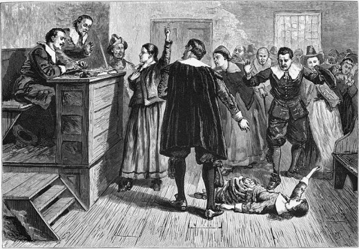 Illustration of Salem witch trials.