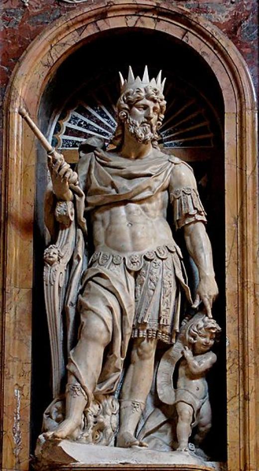 Statue of King David by Nicolas Cordier in the Borghese Chapel of the Basilica di Santa Maria Maggiore.  Photo by Jastrow