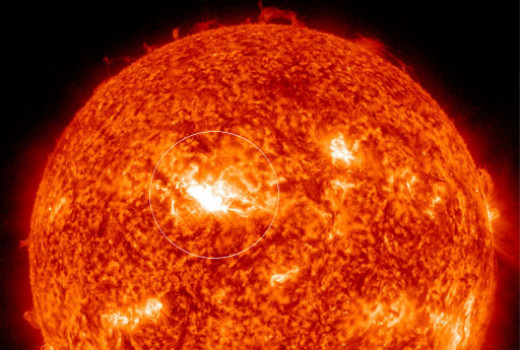 A strong, medium class solar flare is flung off the Sun in the direction of Earth on April 11, 2013 as seen by NASA's Solar Dynamics observatory satellite.