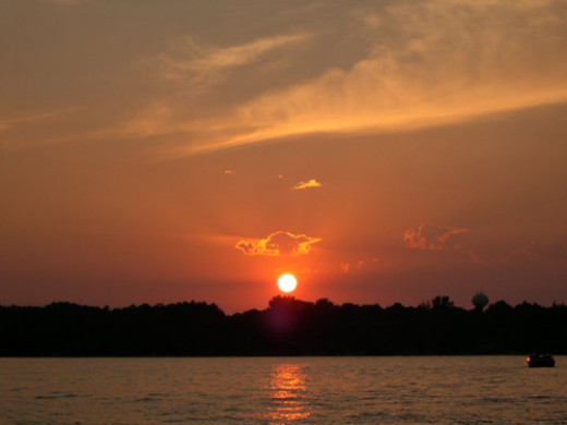 Sunset on Elk Lake in  Elk Rapids, Michigan