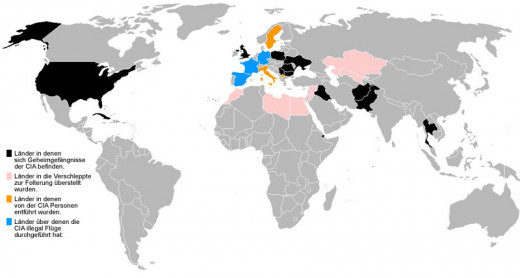This map with German labels displays the location of black torture sites around the world where various countries collaborate in an exchange program under the CIA extraordinary rendition.