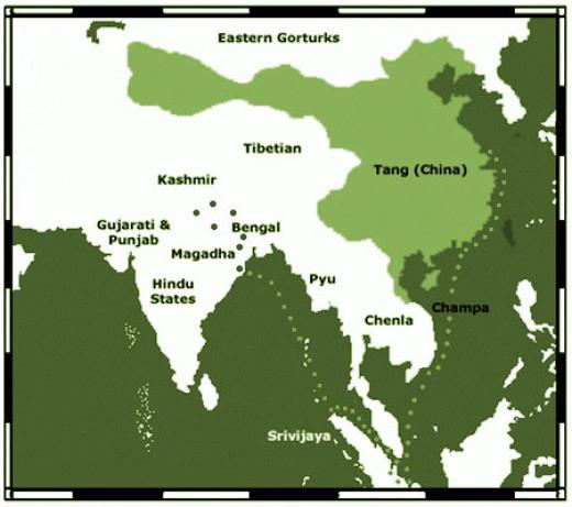 Yijing's travel map of 7th century.