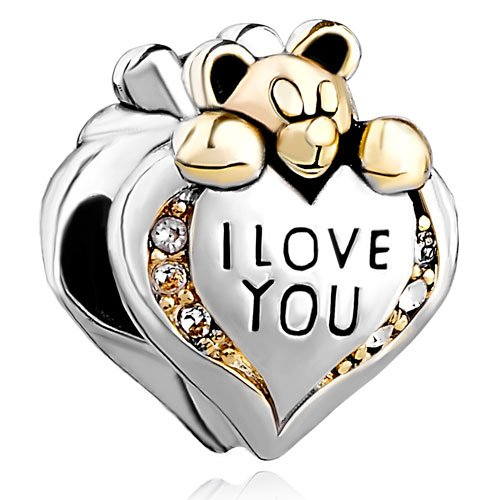 Charm with cute teddy bear and heart saying I love you