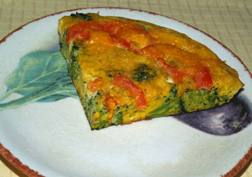 Broccoli and Cheese Frittata with Tomatoes is a colorful entree.