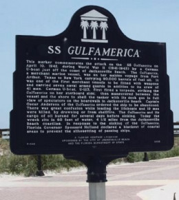 SS Gulfamerica marker located at Jacksonville Beach, Florida - Photo by Mike Stroud.