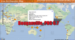 A large 6.7 earthquake north of Australia in the Bouganville region of Papua New Guinea.