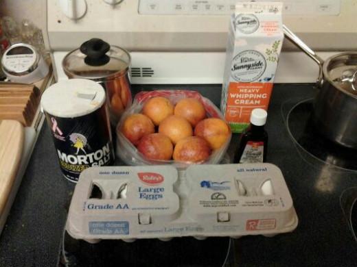 Needed ingredients for making blood orange ice cream.