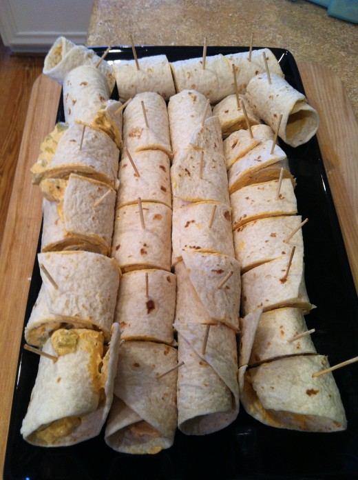 The Completed Taco Roll-Ups!  Serve them as-is or apply sauces liberally.