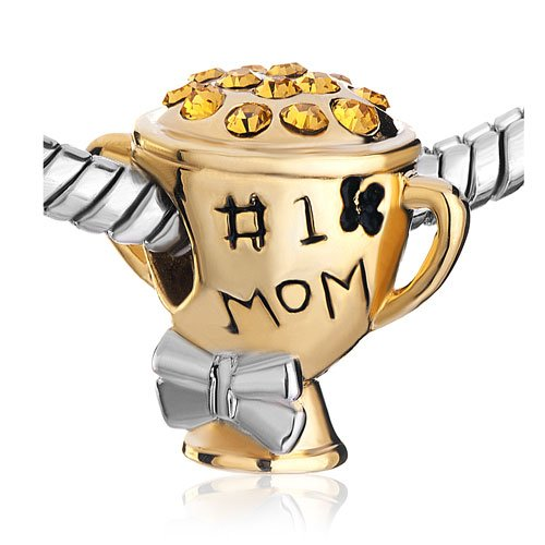 Pugster helps you show your Mum you think she is the best there is with this cute number one mom charm.