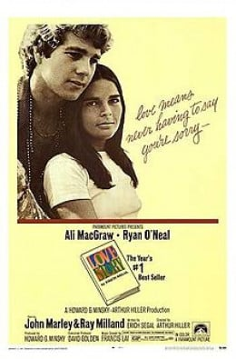 The movie poster for 'Love Story', if you read the book after the movie you always imagine Ryan O'Neal and Ali McGraw in the lead roles.
