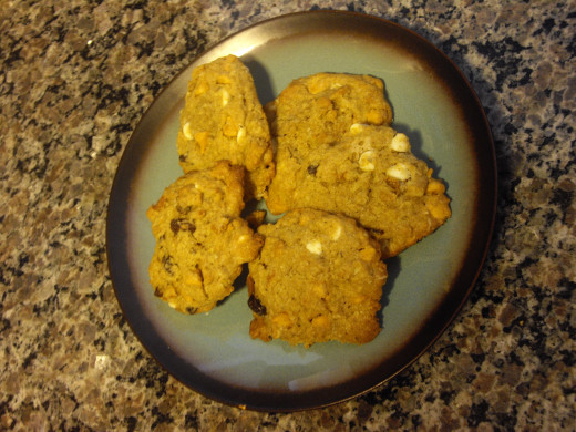 A plate of Chewy Butterscotch Oat Cookies with Raisins
