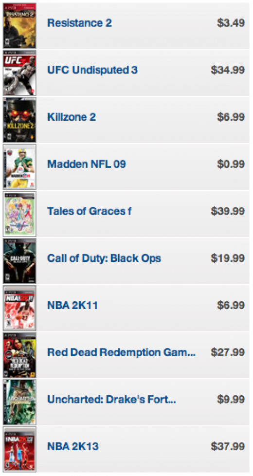 A listing of used games available at Gamestop.