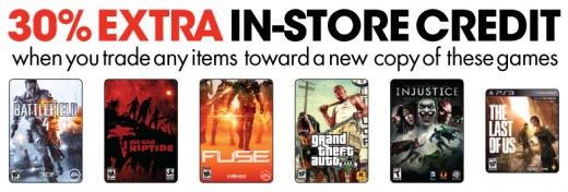 A Gamestop ad showing that extra in-store credit can be earned if games are traded in towards a new copy of a game.