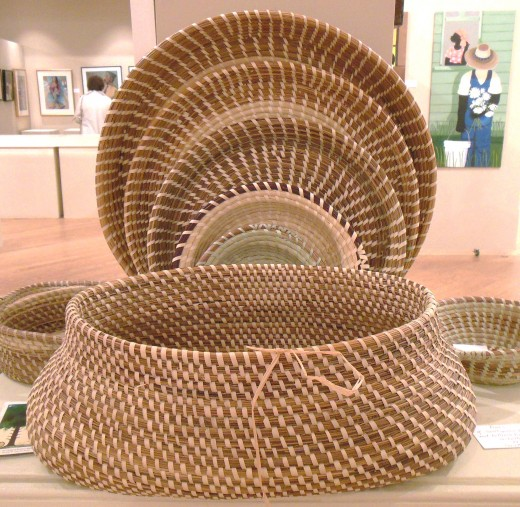 "Sweetgrass baskets on display at the 2013 ""Taste of Gullah Food and Entertainment Festival"" at the Coastal Arts Center on Hilton Head Island."